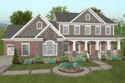 Craftsman Style House Plan - 4 Beds 4.5 Baths 2697 Sq/Ft Plan #56-587 Exterior - Front Elevation