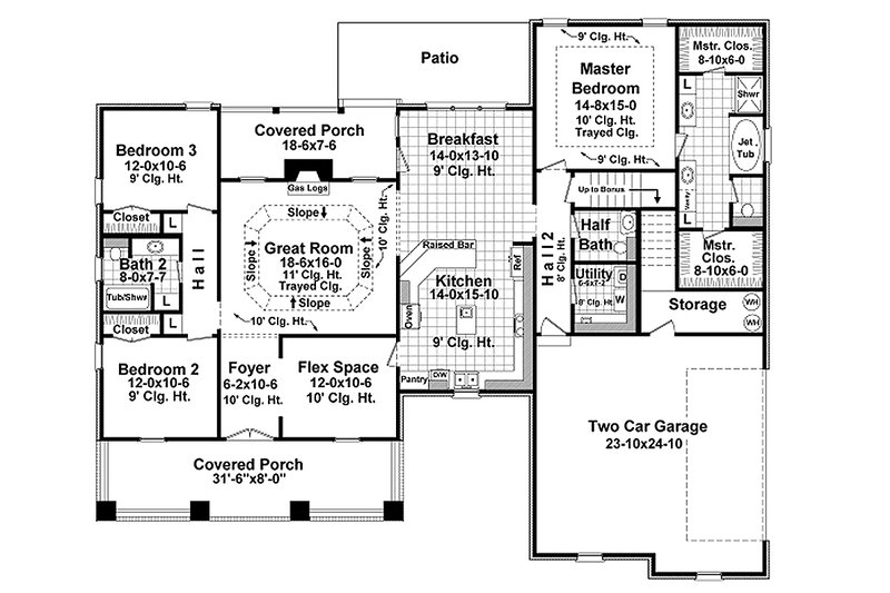 Traditional style house plan with country details, floor plan