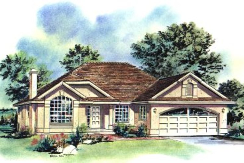European Exterior - Front Elevation Plan #18-165