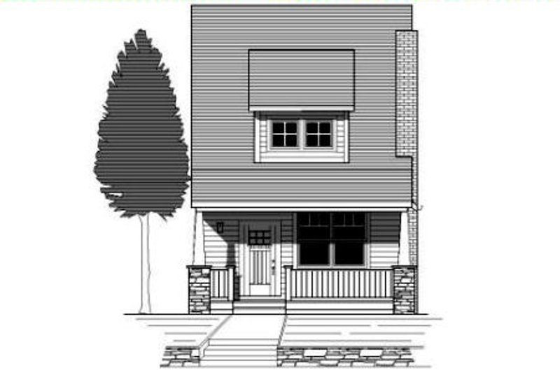 Craftsman Style House Plan - 3 Beds 2 Baths 1564 Sq/Ft Plan #423-3 Exterior - Front Elevation