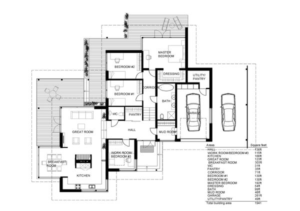 Modern style house plan designed by Arch L.A.B., floorplan