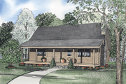 Log Style House Plan - 3 Beds 2 Baths 1477 Sq/Ft Plan #17-458 Exterior - Front Elevation
