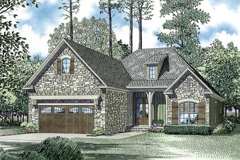 European Style House Plan - 3 Beds 2 Baths 1572 Sq/Ft Plan #17-2453 Exterior - Front Elevation