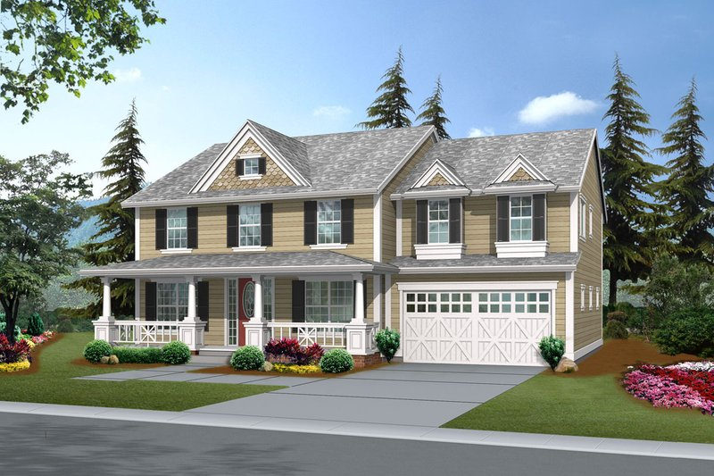 Farmhouse Style House Plan - 4 Beds 2.5 Baths 2980 Sq/Ft Plan #132-138 Exterior - Front Elevation