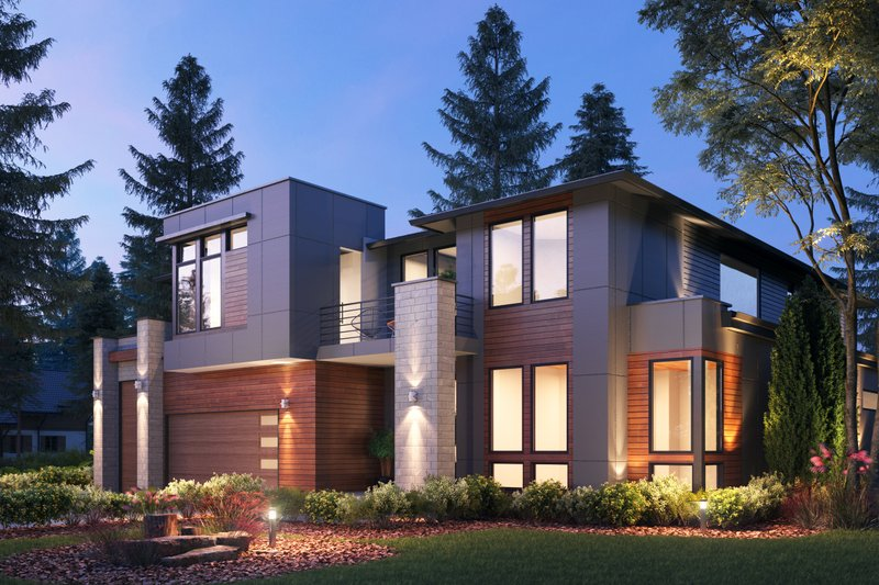 Contemporary Style House Plan - 4 Beds 4.5 Baths 4683 Sq/Ft Plan #1066-132 Exterior - Front Elevation