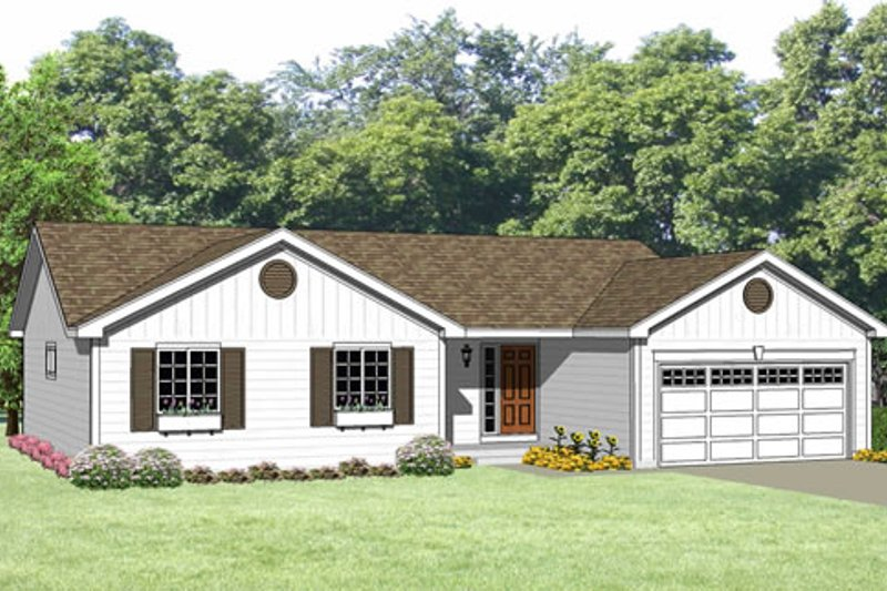 Ranch Style House Plan - 3 Beds 2 Baths 1220 Sq/Ft Plan #116-239 Exterior - Front Elevation