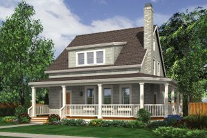 Cottage Exterior - Front Elevation Plan #48-572