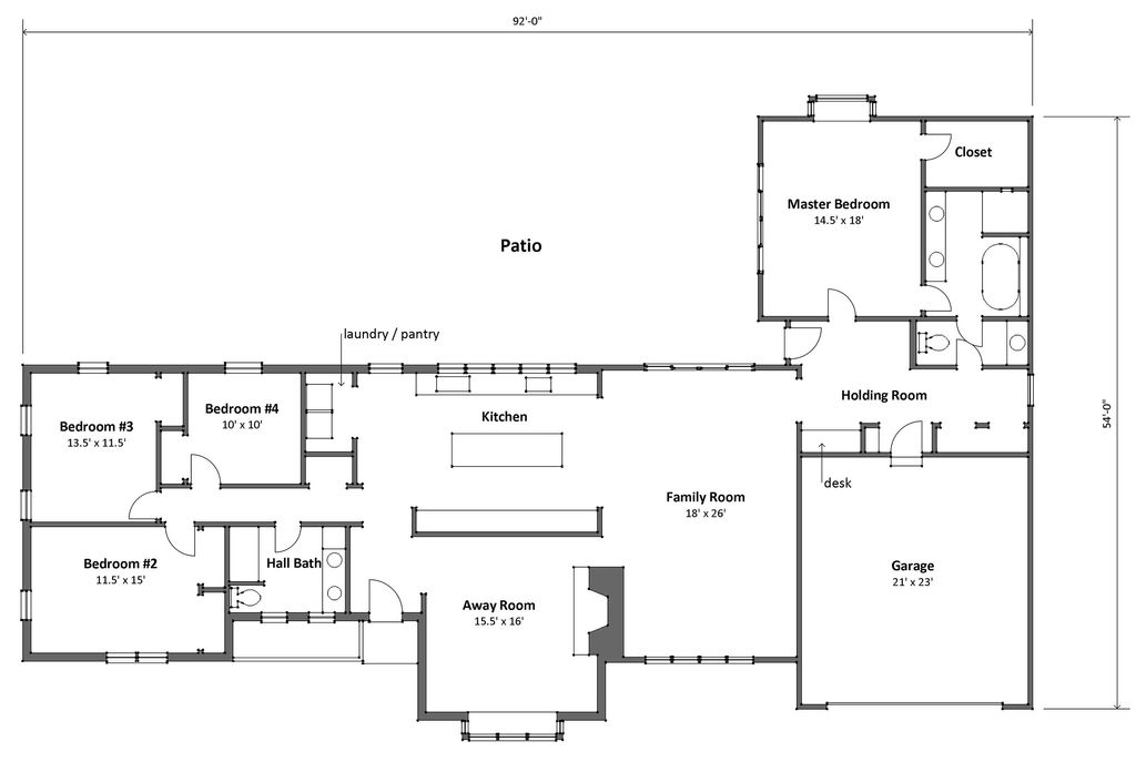 Ranch Style House Plan - 4 Beds 2 Baths