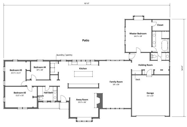 Ranch style house plan, main level floor plan