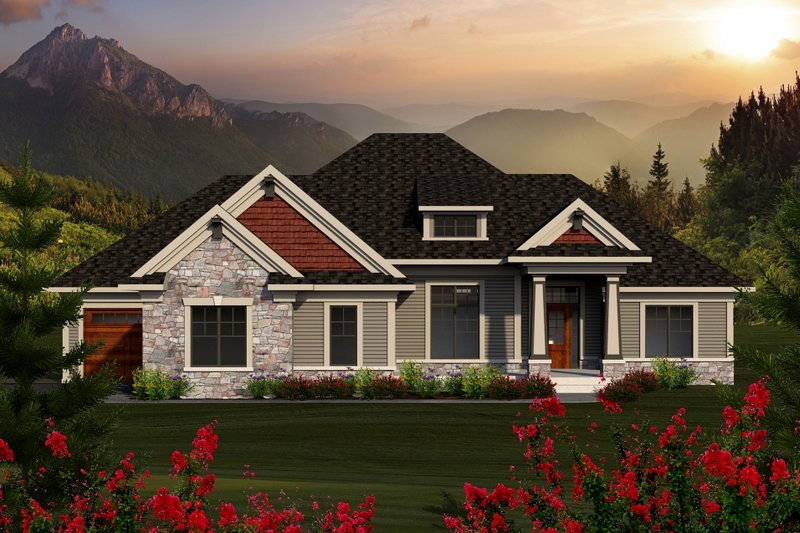 Ranch Style House Plan - 3 Beds 2 Baths 2291 Sq/Ft Plan #70-1170 Exterior - Front Elevation