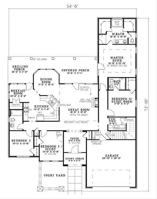 European Floor Plan - Main Floor Plan Plan #17-221