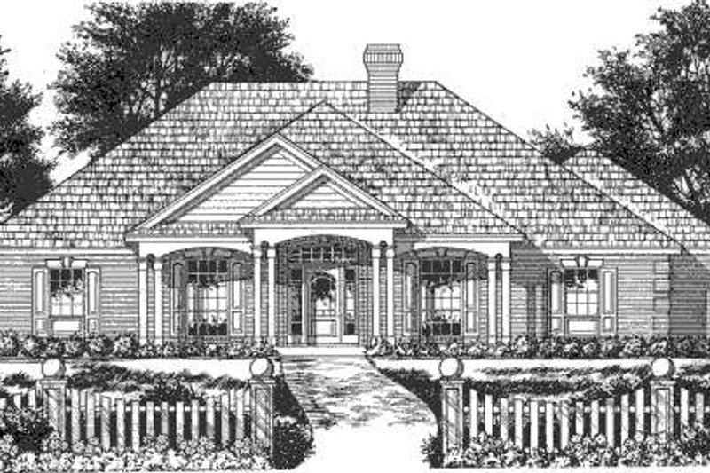 Southern Exterior - Front Elevation Plan #40-428