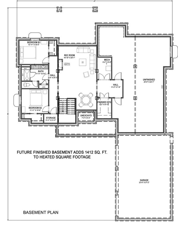 Farmhouse Floor Plan - Lower Floor Plan Plan #1069-18