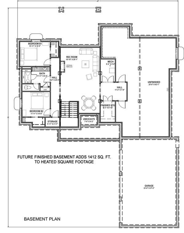 Farmhouse Floor Plan - Lower Floor Plan Plan #1069-18