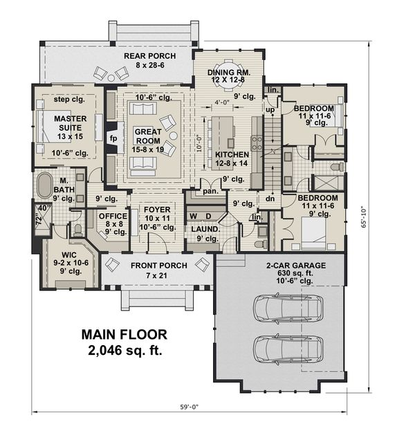 Farmhouse Floor Plan - Main Floor Plan Plan #51-1151