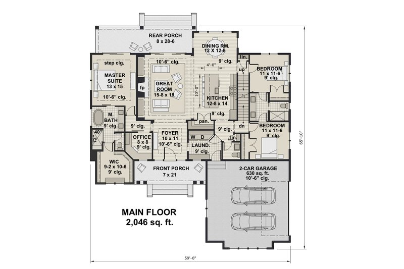 Farmhouse Floor Plan - Main Floor Plan Plan #51-1151