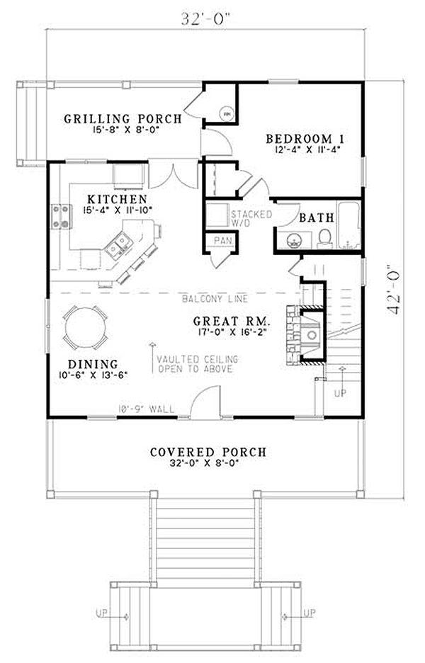 Architectural House Design - Cabin Floor Plan - Main Floor Plan #17-2356