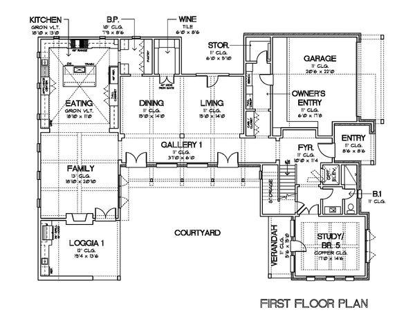European Floor Plan - Main Floor Plan Plan #449-22