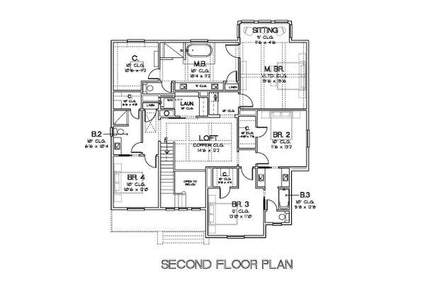 Traditional Style House Plan - 4 Beds 3.5 Baths 4272 Sq/Ft Plan #449-23 Floor Plan - Upper Floor Plan