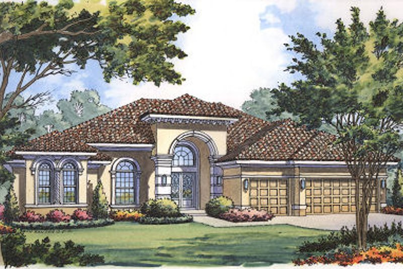 Mediterranean Style House Plan - 4 Beds 3 Baths 3060 Sq/Ft Plan #417-354 Exterior - Front Elevation