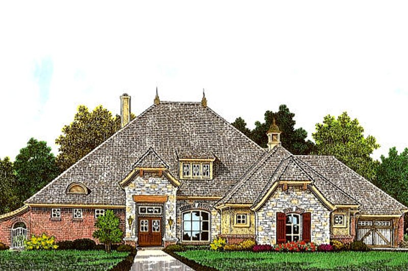 European Style House Plan - 3 Beds 3.5 Baths 2564 Sq/Ft Plan #310-985 Exterior - Front Elevation