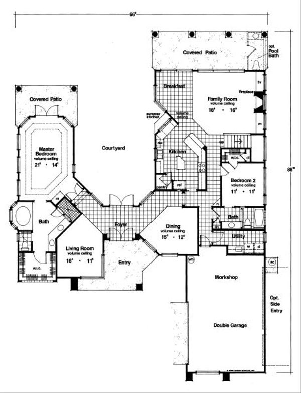 Mediterranean Floor Plan - Main Floor Plan Plan #417-343