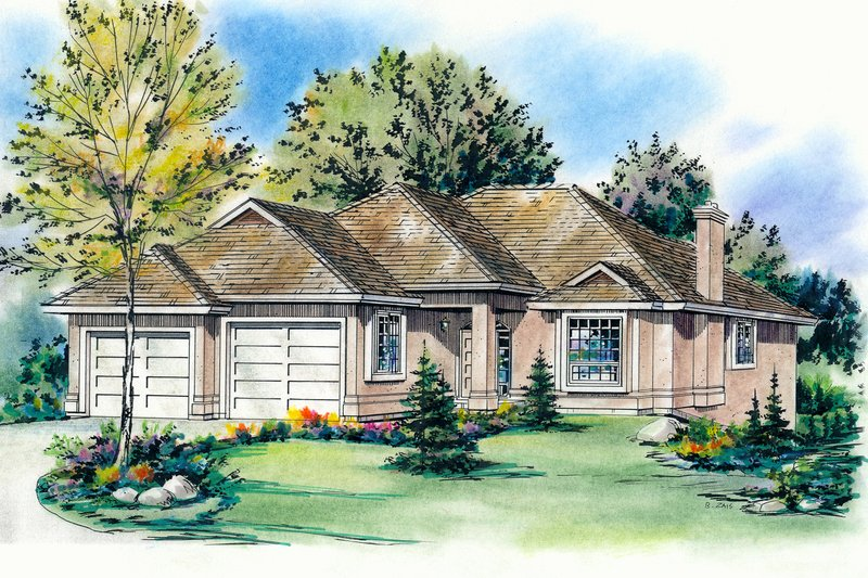 House Blueprint - Traditional Exterior - Front Elevation Plan #18-1013