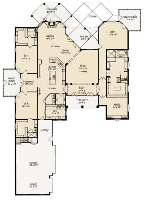 European Floor Plan - Main Floor Plan Plan #36-473