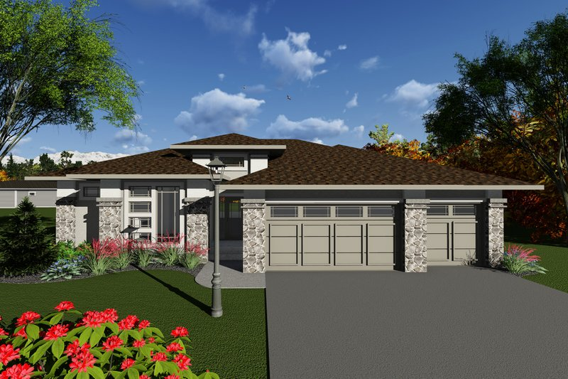 Dream House Plan - Ranch Exterior - Front Elevation Plan #70-1270