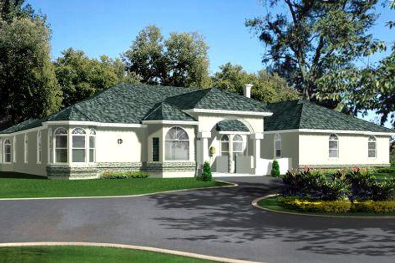 Traditional Style House Plan - 4 Beds 4 Baths 3524 Sq/Ft Plan #1-846 Exterior - Front Elevation