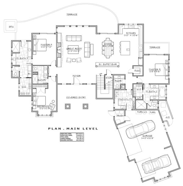 Craftsman Floor Plan - Main Floor Plan Plan #892-28