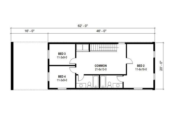 Modern Floor Plan - Upper Floor Plan Plan #497-36