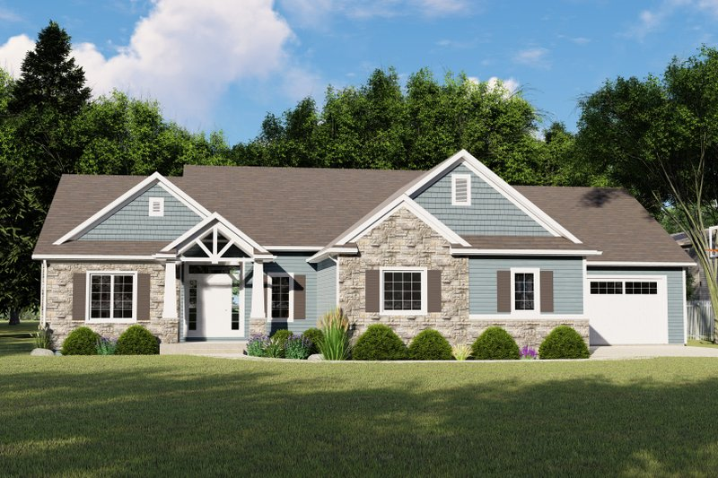 Craftsman Style House Plan - 3 Beds 2.5 Baths 2095 Sq/Ft Plan #1064-66 Exterior - Front Elevation