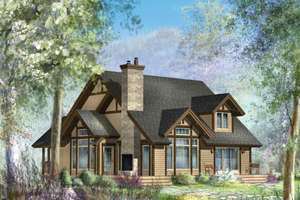 Cabin Exterior - Front Elevation Plan #25-4737