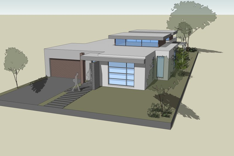 Modern Style House Plan - 3 Beds 2.5 Baths 3740 Sq/Ft Plan #496-22 Exterior - Front Elevation
