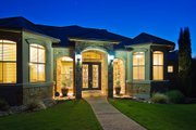 European Style House Plan - 3 Beds 3.5 Baths 3289 Sq/Ft Plan #80-192 Exterior - Covered Porch