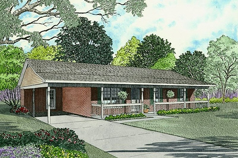 Traditional Style House Plan - 3 Beds 1.5 Baths 1104 Sq/Ft Plan #17-2150 Exterior - Front Elevation