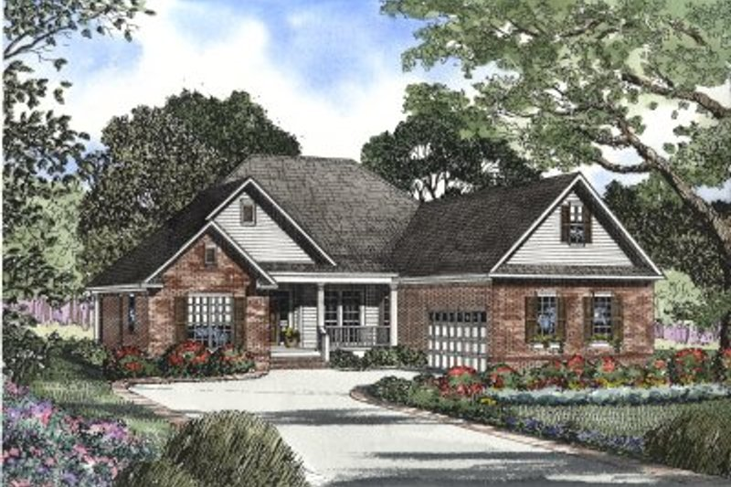 Traditional Style House Plan - 3 Beds 2 Baths 2211 Sq/Ft Plan #17-1122 Exterior - Front Elevation