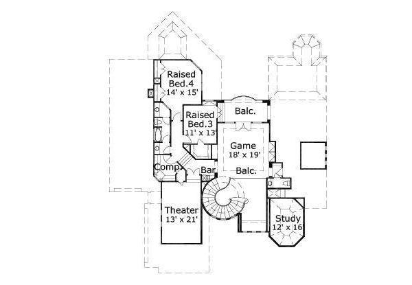 Mediterranean Floor Plan - Upper Floor Plan Plan #411-641