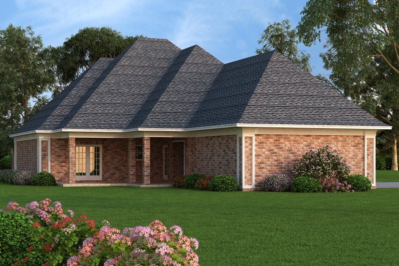 Rear Elevation - 1400 square foot European home