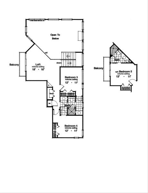 Mediterranean Floor Plan - Upper Floor Plan Plan #417-343