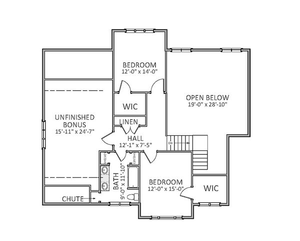 Traditional Floor Plan - Upper Floor Plan Plan #898-29