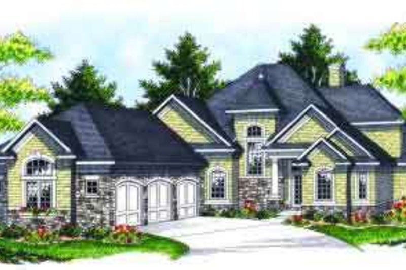 Traditional Style House Plan - 4 Beds 3.5 Baths 3246 Sq/Ft Plan #70-636 Exterior - Front Elevation