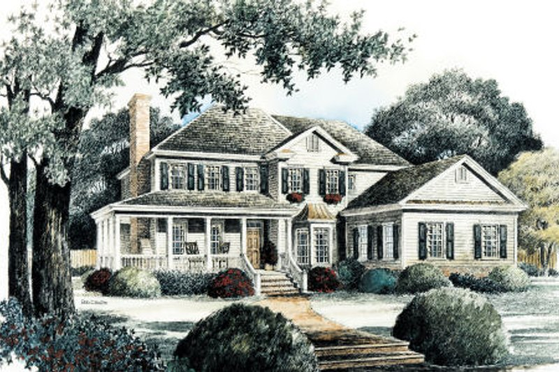 Country Style House Plan - 4 Beds 3.5 Baths 2790 Sq/Ft Plan #429-20 Exterior - Front Elevation