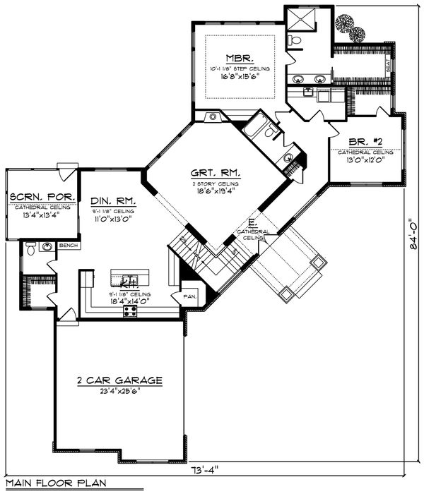 Country Floor Plan - Main Floor Plan Plan #70-1225