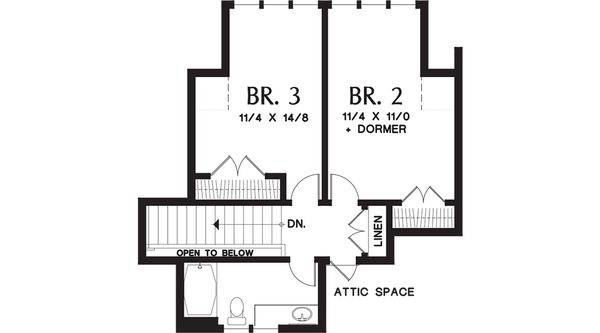 Craftsman Floor Plan - Upper Floor Plan Plan #48-655
