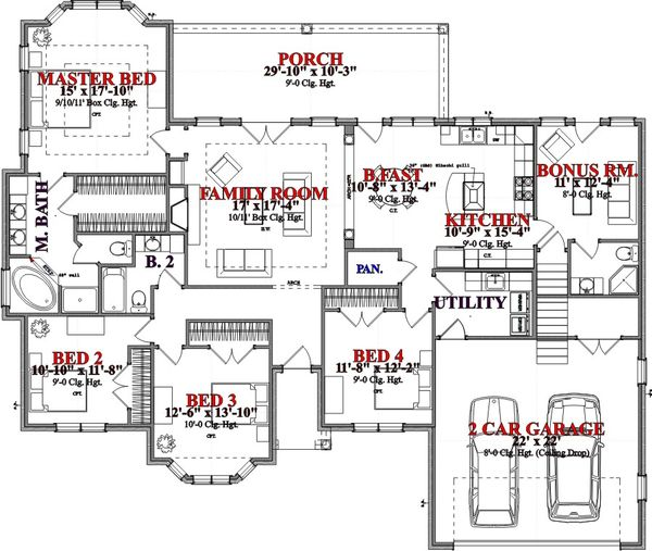 Traditional Floor Plan - Main Floor Plan Plan #63-360