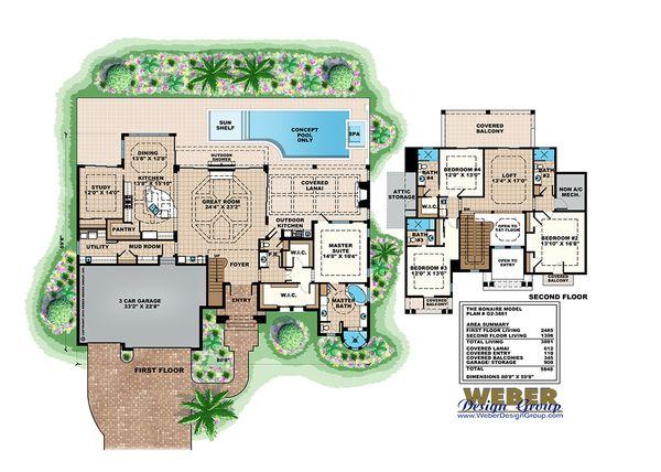 Mediterranean Floor Plan - Main Floor Plan Plan #27-489