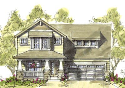 Craftsman Style House Plan - 3 Beds 2.5 Baths 1568 Sq/Ft Plan #20-1213 Exterior - Front Elevation