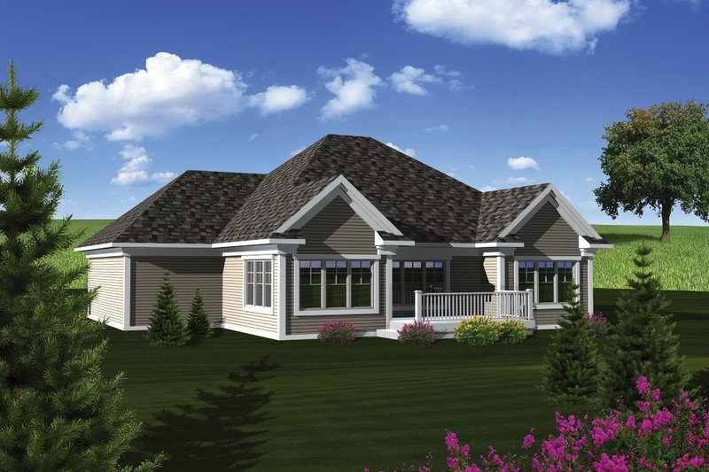 Traditional Exterior - Rear Elevation Plan #70-1078 - Houseplans.com